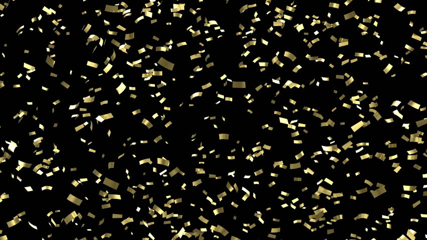 Falling Golden Confetti on black background. HQ Seamless Looping Animation with Alpha Channel