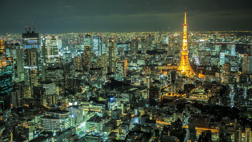 TOKYO 2013 - Night time time lapse of Tokyo Skyline with the Tokyo Tower illuminated | Shutterstock HD Video #5339906