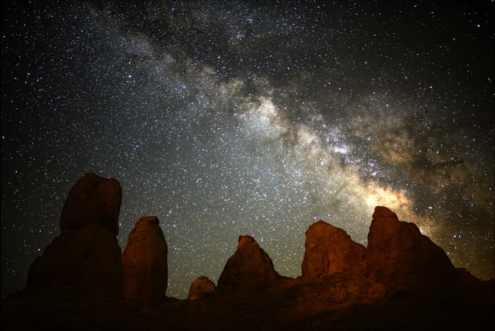 4K Astro Time Lapse of Milky Way Galaxy over Pinnacles during Sunrise -Full Frame- #5343785