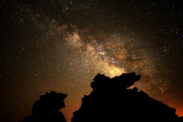 4K Astro Time Lapse Of Milky Way Galaxy Over Volcanic Rock ...