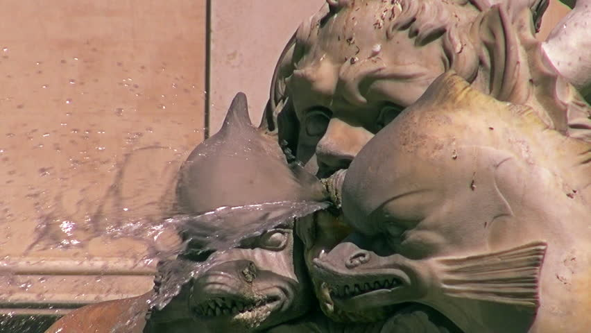 Fontana dei Quattro Fiumi (Fountain of the Four Rivers) is a fountain in the Piazza Navona in Rome, Italy. It was designed in 1651 by Gian Lorenzo Bernini. - HD stock footage clip