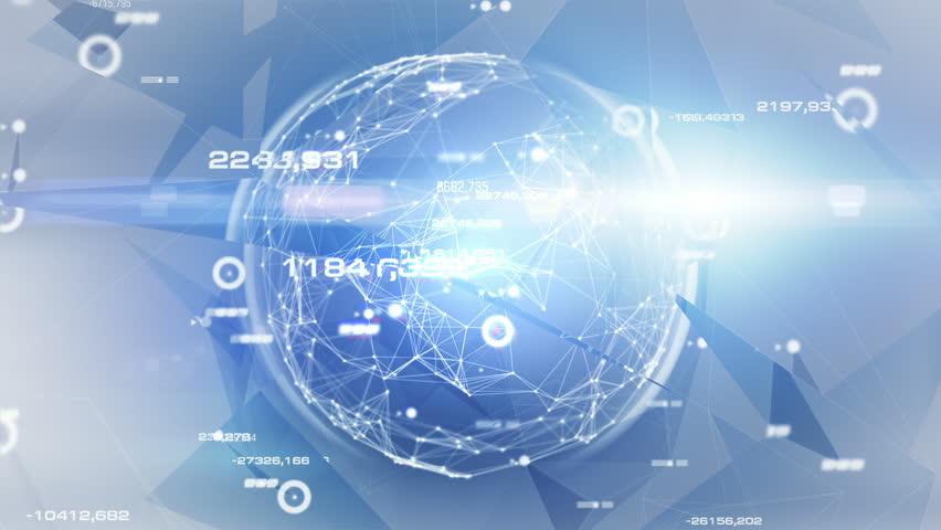 """Hi-tech Sphere. Light Blue."" Abstract data-sphere in digital space. | Shutterstock HD Video #5349860"