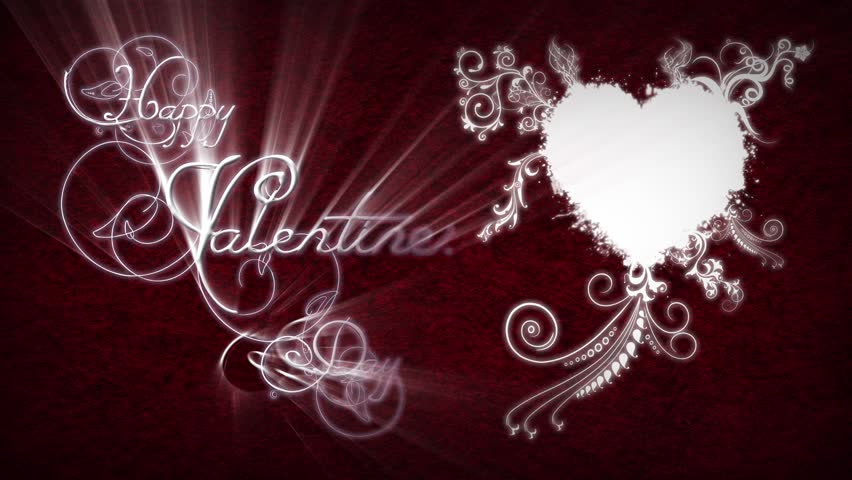 Filigree Happy Valentines Day - This video features a red background with a white heart and animated filigrees coming out with an animated Happy Valentines Day message - HD stock footage clip