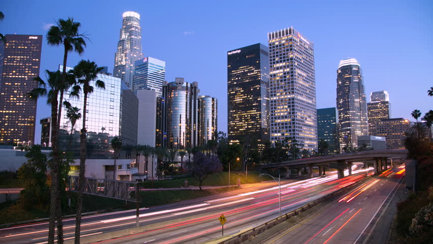 Los Angeles downtown skyline buildings skyscrapers at night timelapse 4k ultra hd | Shutterstock HD Video #5357447