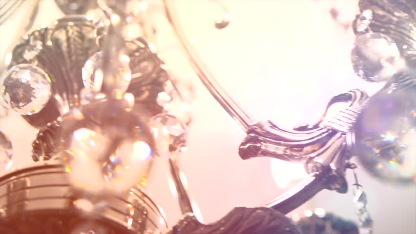Crystal Chandelier. Luxury crystals of a classic chandelier close up.