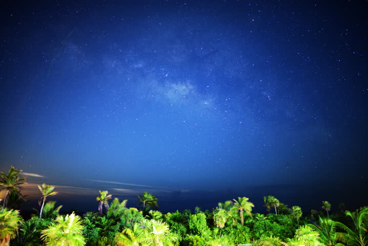 4K Astro Time Lapse of Milky Way Galaxy and Moon Rise over Tropical Jungle
