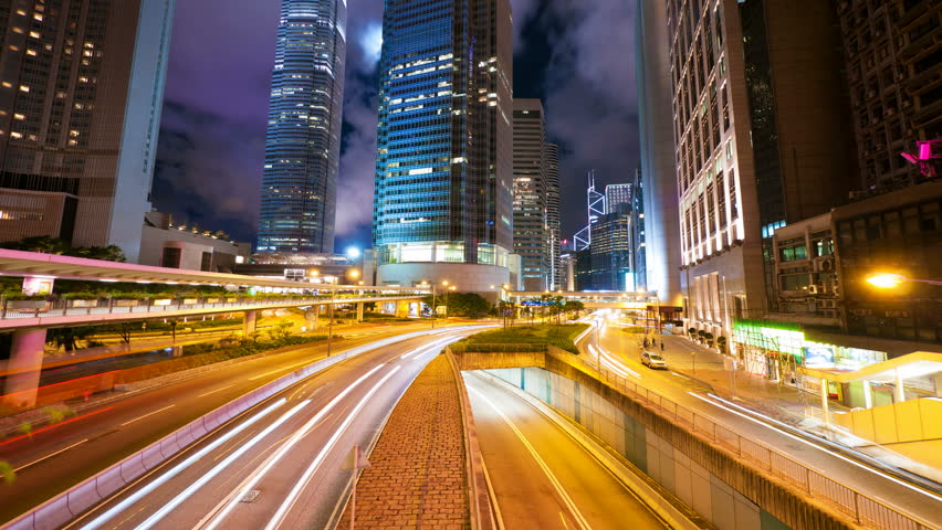 Street traffic in Hong Kong at night. 4k UHD, hyperlapse | Shutterstock HD Video #5359265