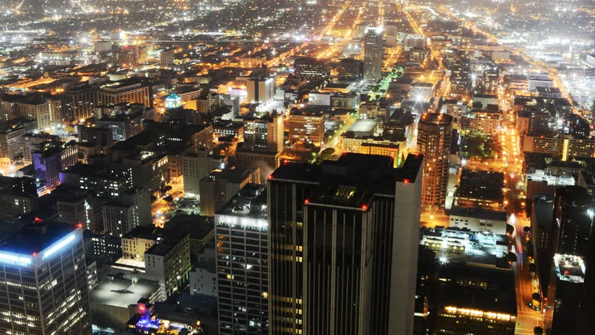 4K Night Cityscape Time Lapse of Downtown Los Angeles -Tilt Up-
