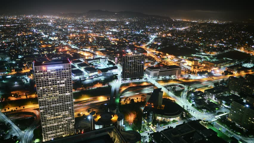 4K Night Cityscape Time Lapse of Downtown Los Angeles