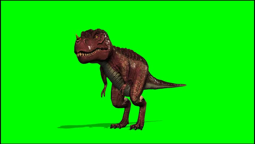 T Rex Dinosaurier  roars - seperated on green screen  | Shutterstock HD Video #5417018