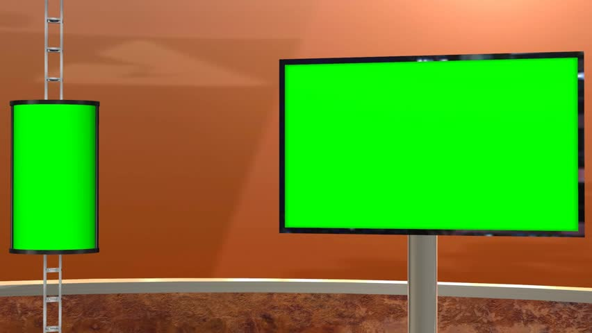 Virtual Studio with greenscreen - Videobackground