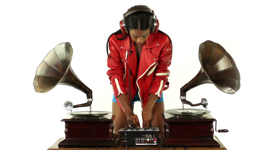 sexy young woman djs using two retro antique gramophones. cool and quirky concept clip. this is a super high quality 4k version at 4096x2304 pixels