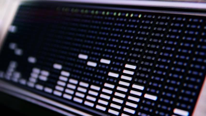 Close up shot of a software spectrum analyzer
