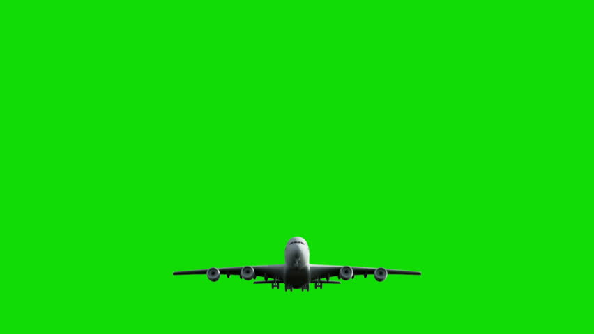 Computer rendering of the flying jumbo jet plane with green screen. | Shutterstock HD Video #5469713