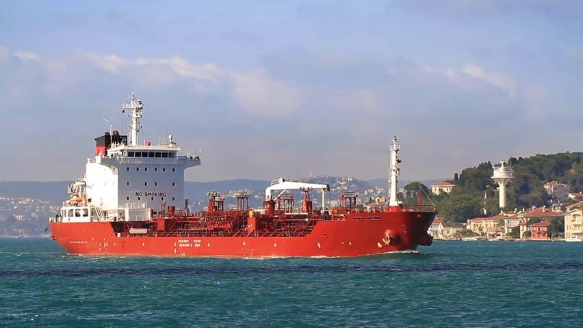Chemical tanker ship. HD, Tracking Video. Oil chemical tanker cruising along the Bosporus Sea