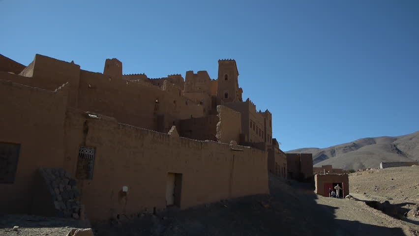 WS POV View of old ruined city in Morocco