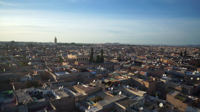 WS POV View of cityscape in Marrakesh, Morocco