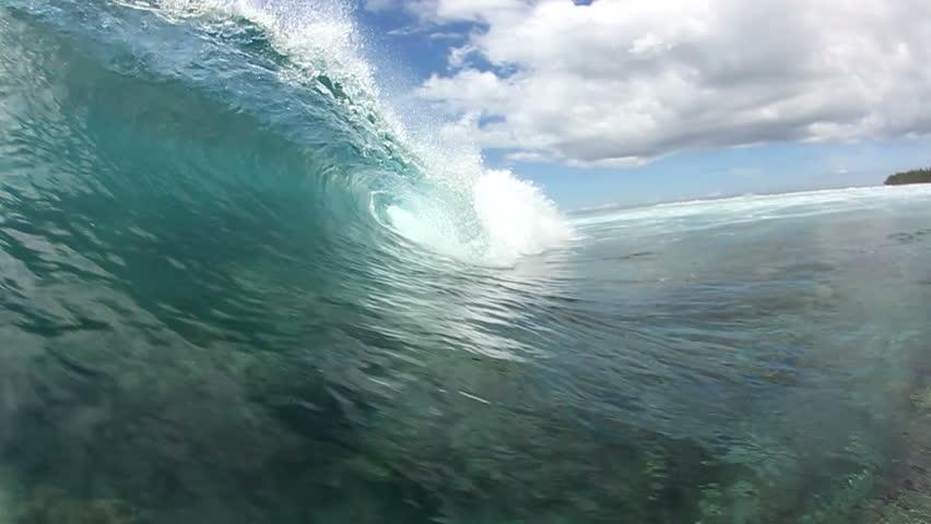 Empty Blue Ocean Wave Crashing In Slow Motion