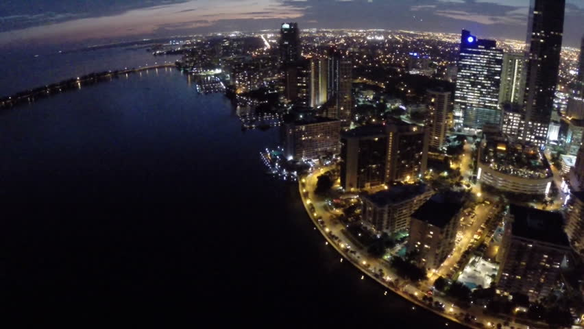 Aerial video footage of Brickell Miami at night