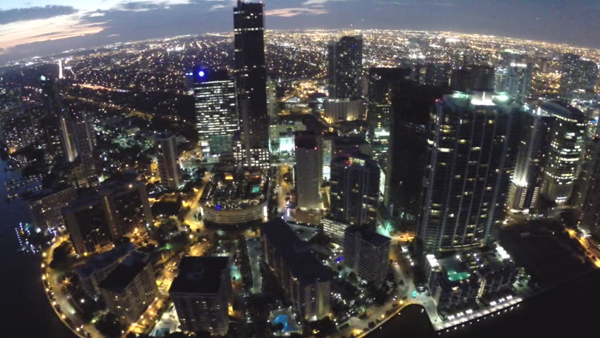 Aerial Video Footage Of Brickell Miami At Night Stock