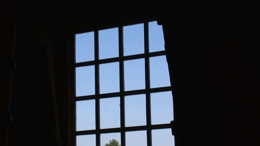 window view from windmill + turning wicks in blue sky - HD stock video clip