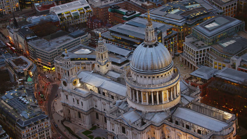 4K Aerial shot of Central London with a view of St Paul's Cathedral - 4K stock footage clip