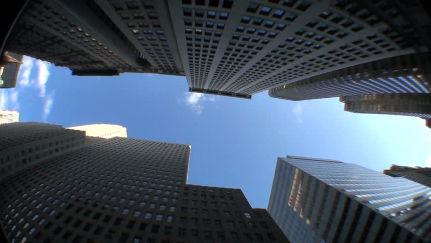 High-angle motion-jib view of skyscrapers in the financial district of New York City, USA - HD stock video clip