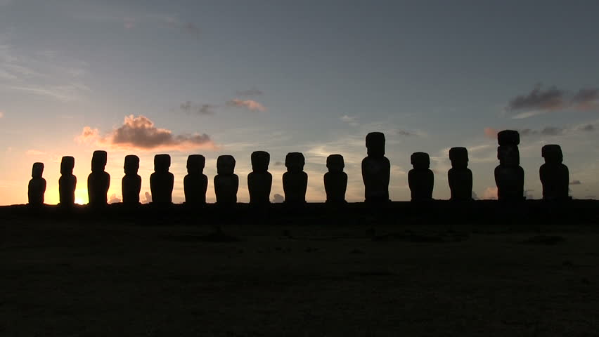 Moai, Easter Island, Chile - HD stock footage clip