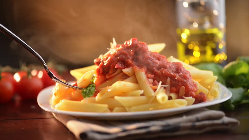 Pasta penne with bolognese sauce parmesan cheese and - Italian cuisine pasta ...