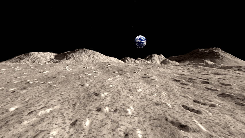 Surface of the Moon animated HD stock footage. A beautiful animation of the surface of the Moon with the planet Earth hanging in the Lunar sky.
