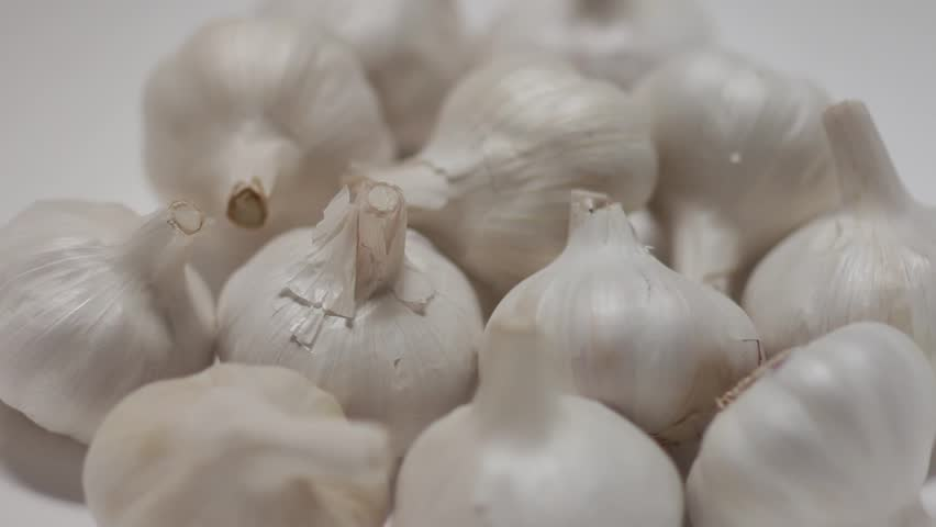 Superfood Garlic side view, filmed on revolving turntable - HD stock footage clip
