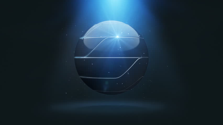Sci-Fi Logo Reveal Sphere Black. Assembly and disassembly hi-tech sphere.