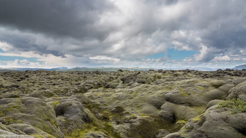 4K Version of Time Lapse of the expansive moss-covered lava fields and mountains in Iceland