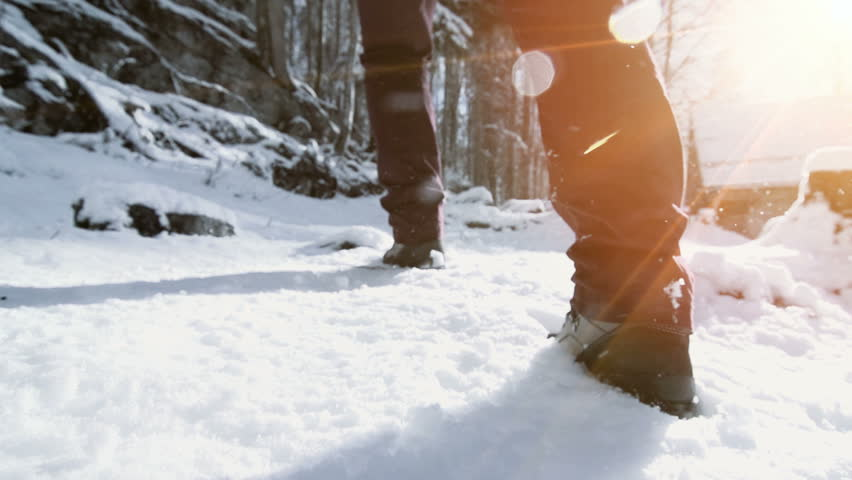 Foot feet steeps. hiking walking. slow motion. snow winter landscape. recreation activity. holiday vacation tourism. people persons. outdoors sports | Shutterstock HD Video #5594651