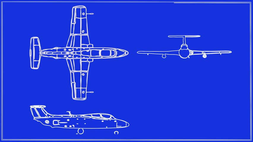 Jet Aircraft Technical Drawing Blueprint - HD stock footage clip