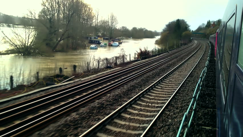 On board an HST High Speed 125 train in the UK with flooded river alongside. Part 1.