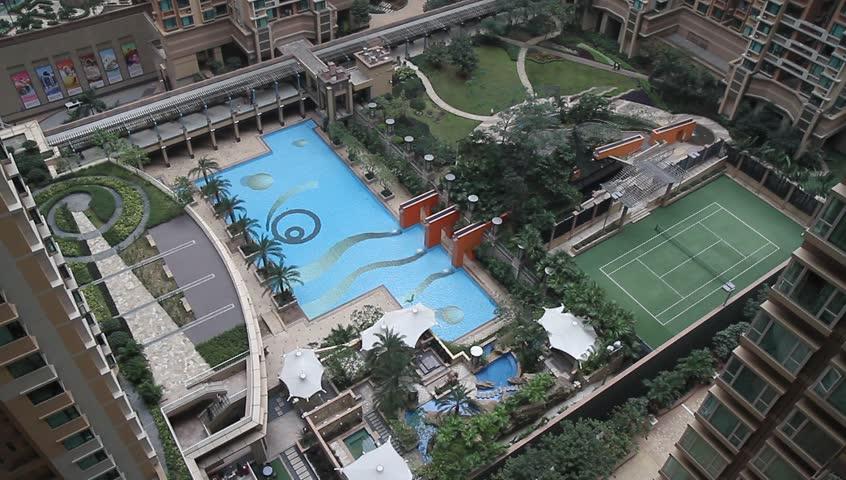 HONG KONG - CIRCA 2014: Hong Kong, very dense apartment (beehive) complex panning up. - HD stock video clip