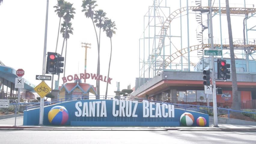 Santa Cruz, California - January 26, 2014 - Medium shot of the main entrance of the Santa Cruz Beach Boardwalk.