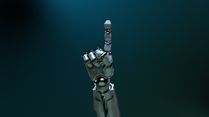 Animated robot hand finger wagging. Alpha channel. DOF.