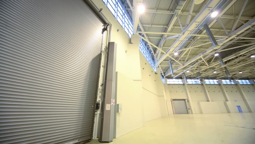 Spacious Empty Helicopter Hangar In The Form Of A