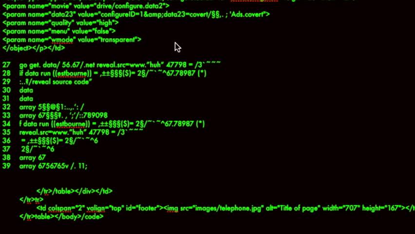 Hacker Code Running Down A Computer Screen Terminal Stock