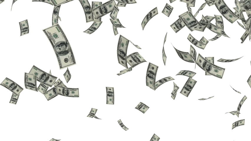 american dollars falling on white background stock footage video 3486707