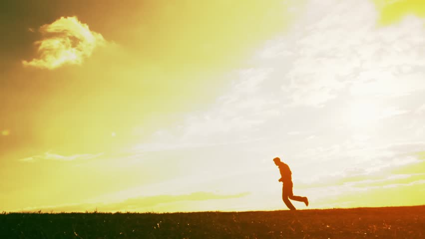 Jogging Fitness Health Concept Young Man Running Sunset Silhouette - HD stock video clip