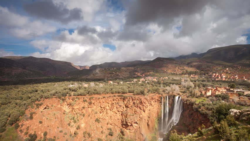 Timelapse Ouzoud Waterfalls located in the Grand Atlas village of Tanaghmeilt, in the Azilal province in Morocco, Africa