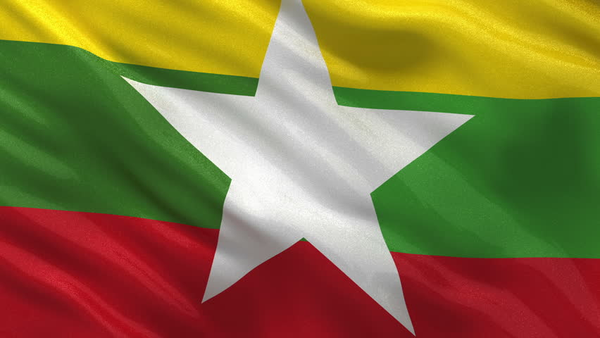 Flag of Myanmar (Burma) gently waving in the wind. Seamless loop with high quality fabric material. - HD stock footage clip