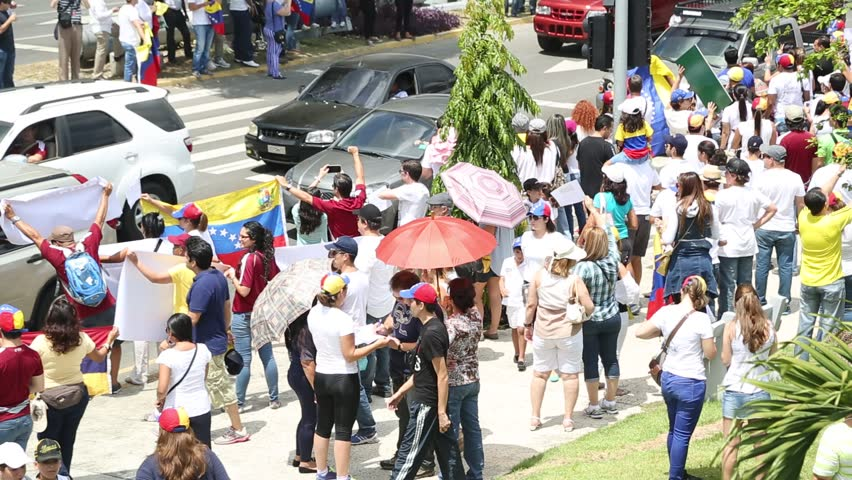 Panama City, Panama, Circa 2013: Streets of Panama are filled with Venezuelans protesting against their own government along the streets of Panama City, Panama, Circa 2013 - HD stock video clip