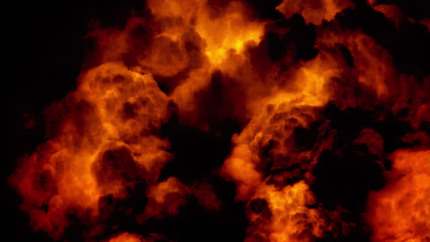 Huge night fire on a gas or oil well or broken petrol pipe. Clouds of fire with black smoke at night. The hell flame of the Gehenna, empire of fire.