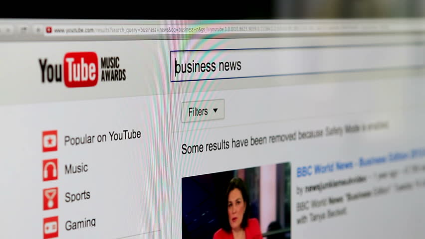 Galati, Romania, February 27, 2014: Closeup footage of a portion of YouTube homepage displayed in a Firefox browser on a computer monitor. YouTube is the world's most popular video sharing website.