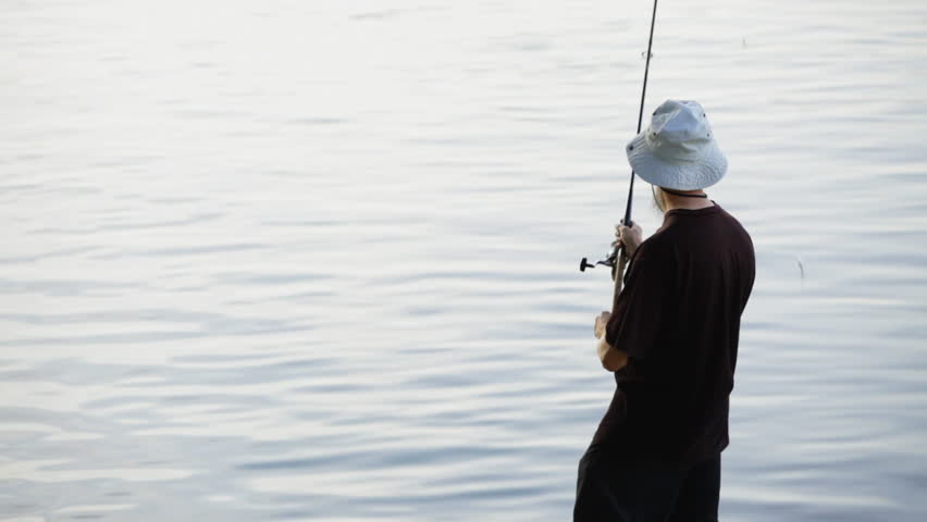 HD 1080: sports fisherman - angler, fishing on Danube river;  | Shutterstock HD Video #5723009