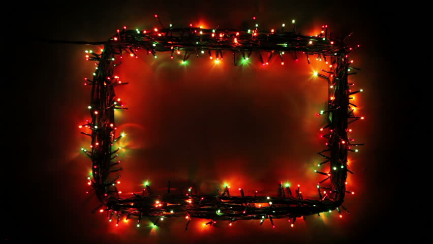 Blinking frame with Christmas lights, HD 1080p, loop - HD stock footage clip